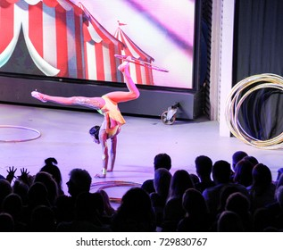 Girl with a ring on her leg. Yalta, Crimea - 11 July, 2017. Performance of young artists on the stage of the hotel Yalta Intourist ..