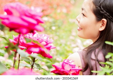 Girl with rose flowers