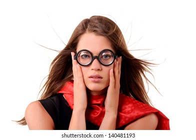 Girl in round spectacles