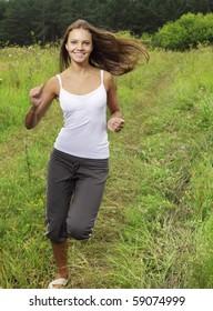 girl run on field