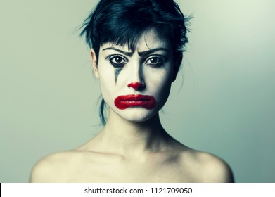 Girl Sad Clown