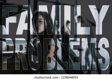 Girl with Sad Face. Frustrated Teenager. Family Quarrels. Parents Scolded. Dark-Haired Girl Escapes. Man Argues with Woman.Violence in Family. Family Problems. Young Family Misunderstanding. Break Up.