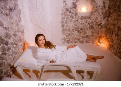 girl in a salt room