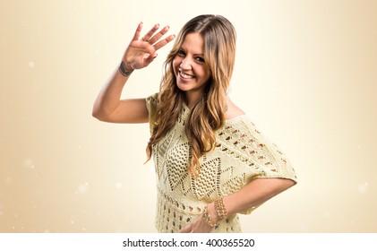 Girl saluting