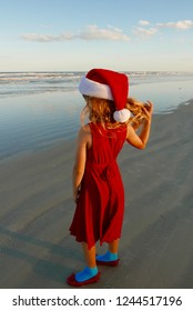 Girl in a Santa hat standing on the beach, facing the ocean
