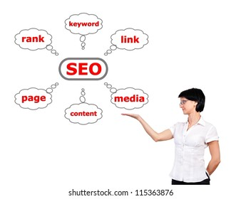 girl with a scheme seo in hand