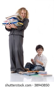 The girl  in school uniform and boy with textbooks