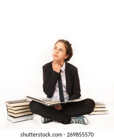 Girl in school uniform, learning  with books