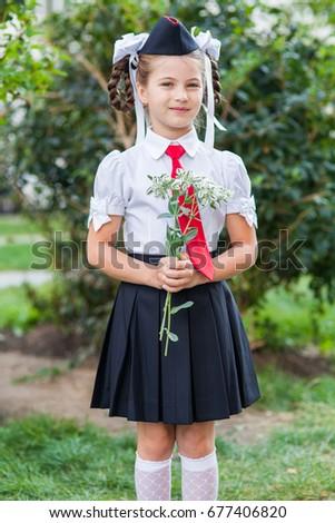 Nice japanese teen in plaits and school uniform-921