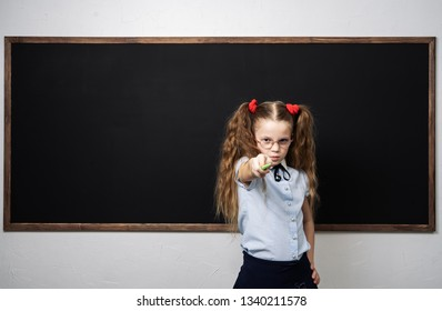 Girl schoolgirl at the school board shows a pointer forward.