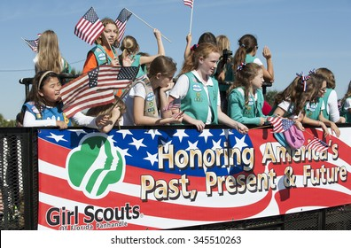 GIRL SCOUTS OF AMERICA IN VETERANS DAY PARADE NOVEMBER 2013 - Girl Scouts of Florida Panhandle in the Veterans Day Parade Pensacola Fl USA