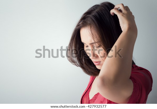 Girl scratch the itch with hand, Head, Itch, Concept with Healthcare And Medicine.