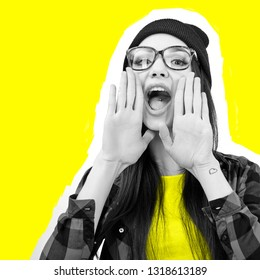Girl screaming like in megaphone holding hands near her face with open mouth. Young woman touts everyone over yellow background.