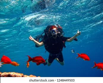 girl with scuba