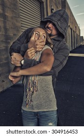 GIRL SELF DEFENSE | A young woman is attacked by a male in an alley. Refuse to be a victim.