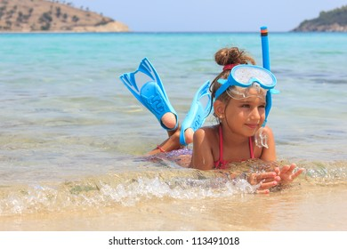 Girl in the shallow sea