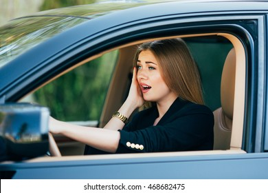 Girl shocked and scare before accident on road with car.