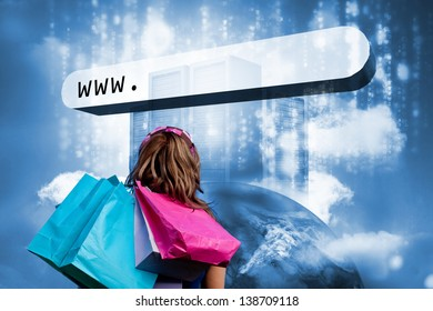Girl with shopping bags looking at address bar with data servers on top of earth