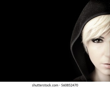Girl with short blond hair