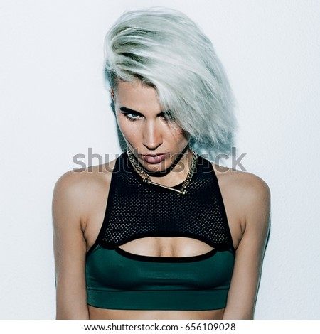 Girl with short hair. Fashion style Swag