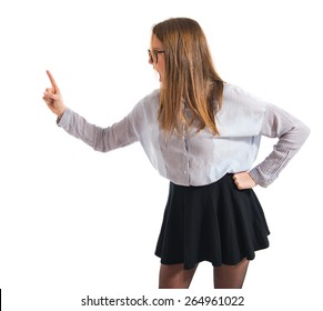 Girl shouting and pointing