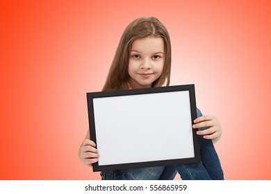 girl showing blank placard board to write it on your own text