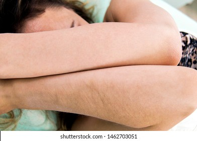 Girl showing hands after the procedure of hair removal background