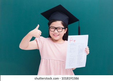 girl showing perfect test results with A plus