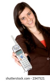 girl showing a phone over a white background