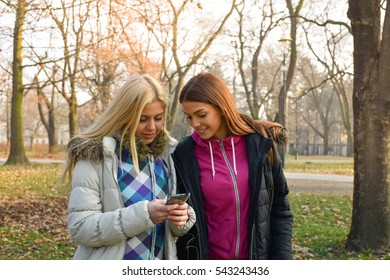Girl showing something her friend on the mobile phone.
