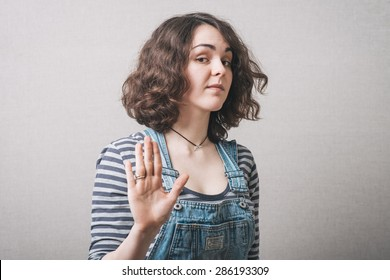 girl showing stop