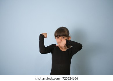 A girl shows her strong arms/strong girl/Muscles