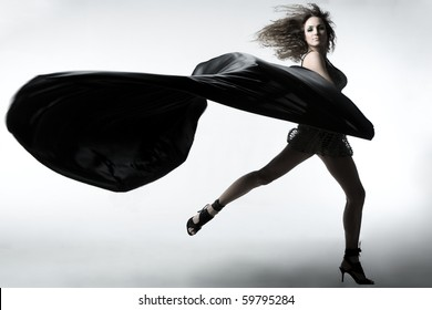 a girl with silk textile