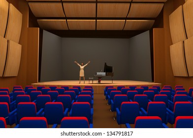 Girl singing on stage of empty hall.