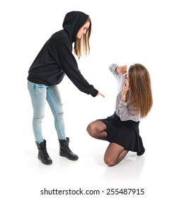 Girl sister shouting her sister