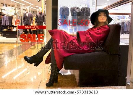 Stupendous Girl Sits On Sofa Shopping Center Stock Photo Edit Now Pabps2019 Chair Design Images Pabps2019Com