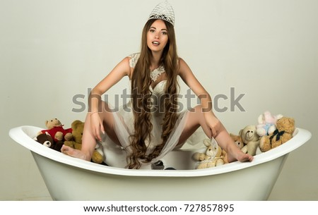 Girl Sitting On Bath Tub On Stock Photo (Edit Now) 727857895 ...