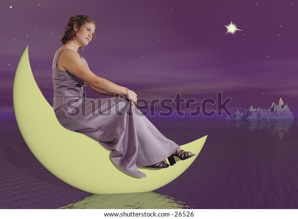 Girl sitting on a quarter moon as it dips into a lake