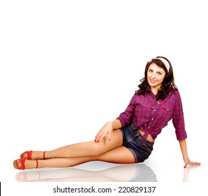 girl sitting on a white background in the style of pin up
