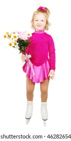 The girl skates on a white background. Very happy child in purple plum dress with flowers isolated on the white.