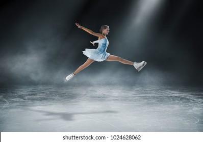 girl skating at ice arena