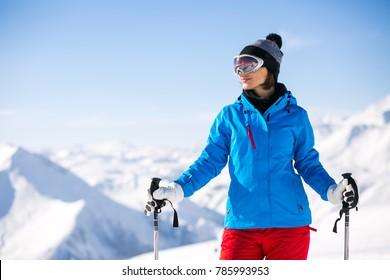 Girl skiing in the Georgian mountains
