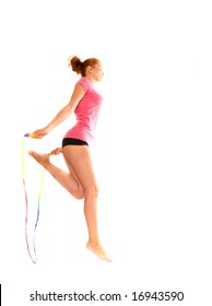 girl with  skipping rope. Isolation on the white