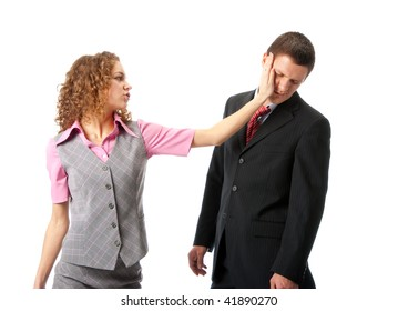Girl slapping in the face to man. Isolated over white