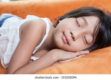 Girl was sleeping.child Asian women with long hair.