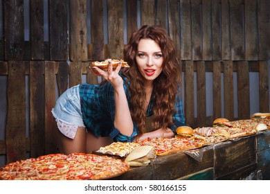 Girl with slice of pizza promotes fast food. Fastfood advertise