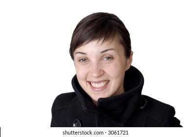 girl smile white teeth over white background