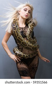 A girl with a snake