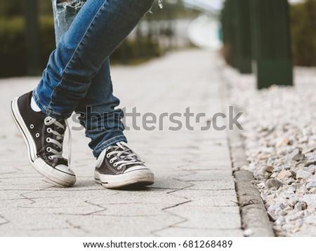 15718d18669b Girl Sneakers Waiting Crossed Legs Stock Photo (Edit Now) 681268489 ...