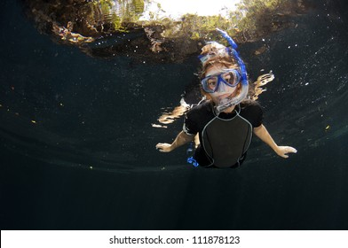 Girl snorkelling